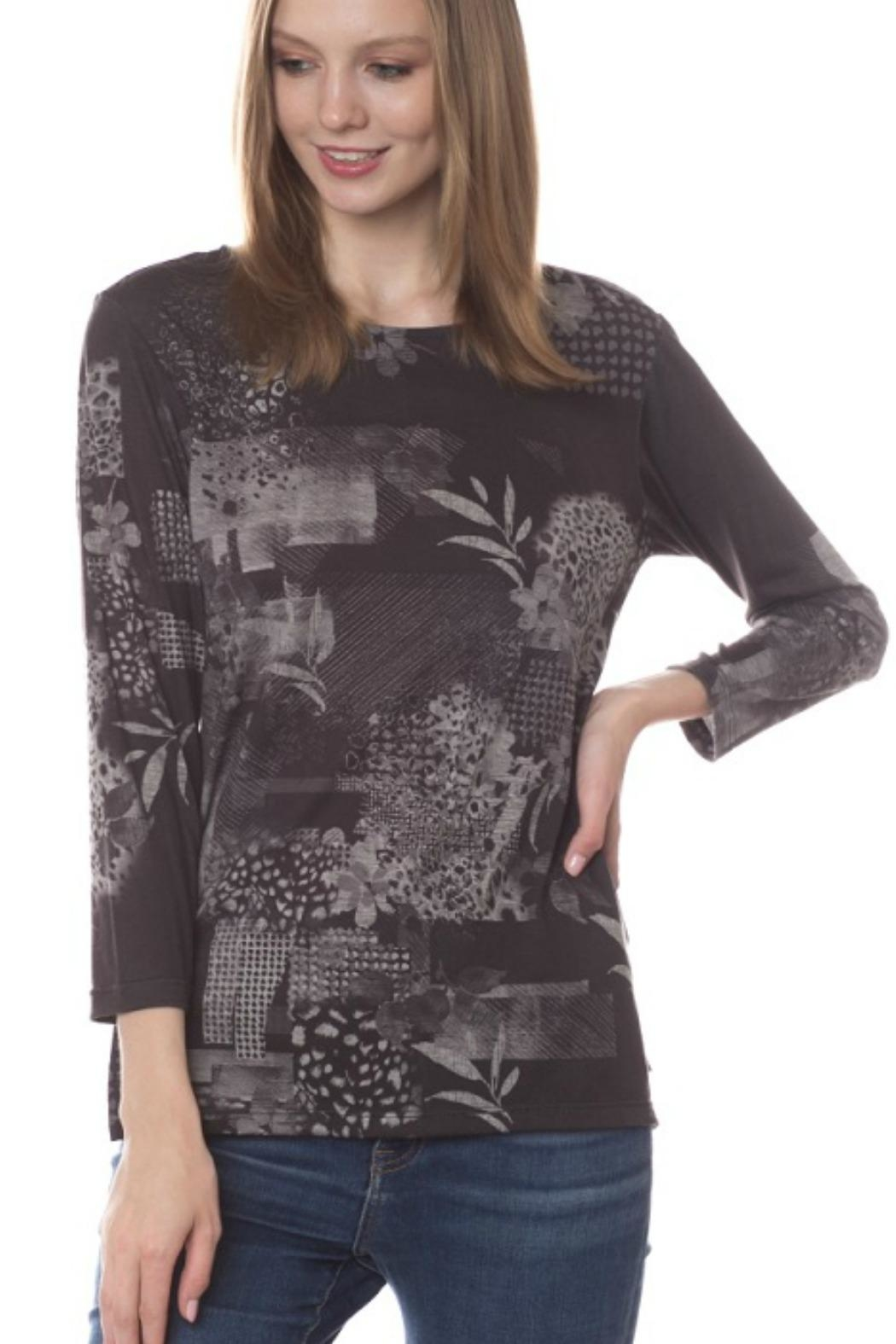 Katina Marie Abstract Floral Top - Front Cropped Image