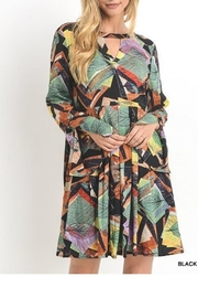Jodifl Abstract Long-Bell-Sleeve Dress - Product Mini Image