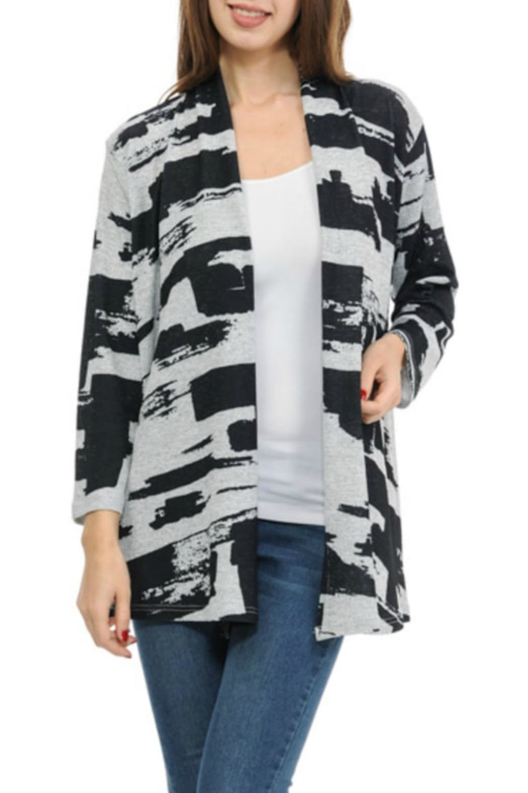 Cubism Abstract Open Cardigan - Main Image