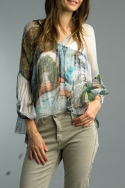 Tempo Paris Abstract Print Top - Front cropped