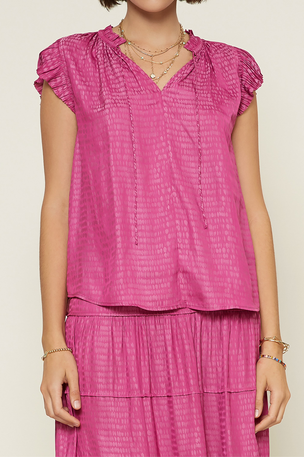 Current Air  Abstract V-Neck Pleated Cap Sleeve Blouse - Main Image