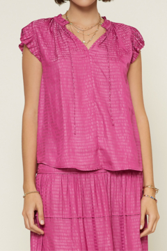 Current Air  Abstract V-Neck Pleated Cap Sleeve Blouse - Product List Image