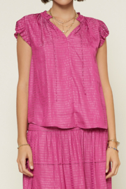 Current Air  Abstract V-Neck Pleated Cap Sleeve Blouse - Front cropped
