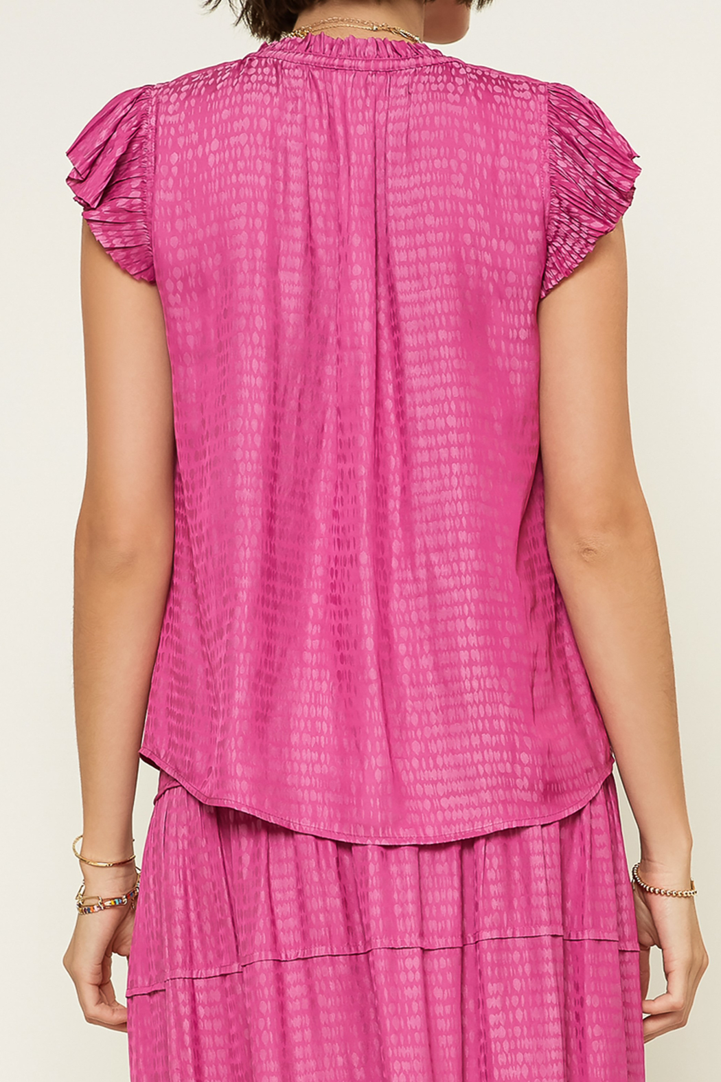 Current Air  Abstract V-Neck Pleated Cap Sleeve Blouse - Front Full Image