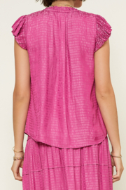 Current Air  Abstract V-Neck Pleated Cap Sleeve Blouse - Front full body