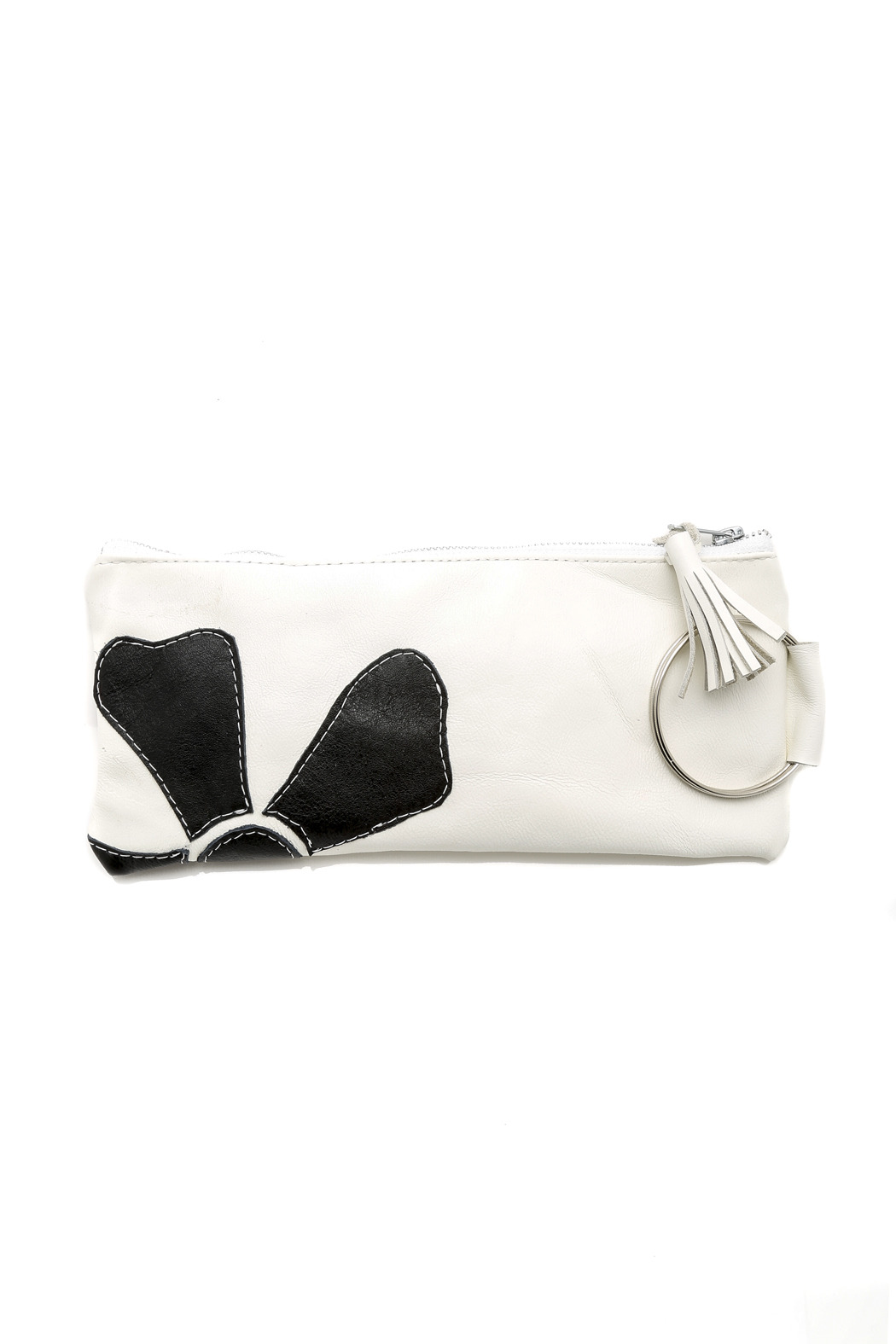 Vickie Wilson Leather Flower Clutch - Front Cropped Image