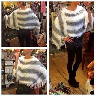 Shoptiques Product: Grey And White Poncho