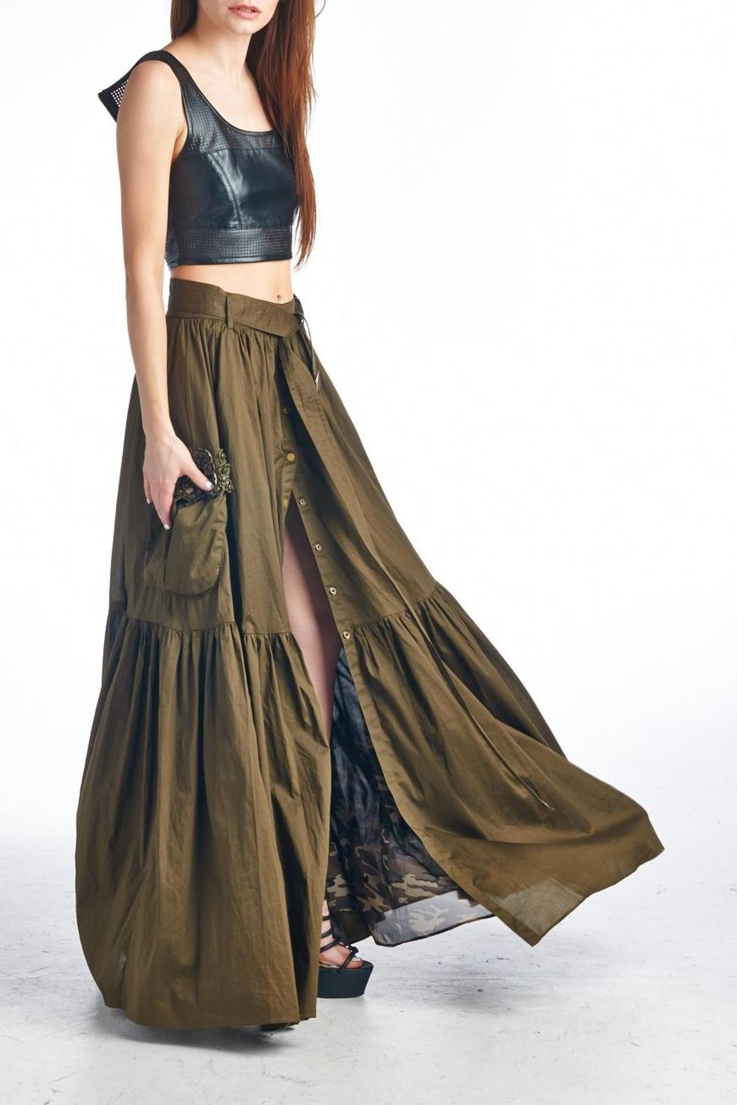 MHGS Olive Maxi Skirt - Front Full Image
