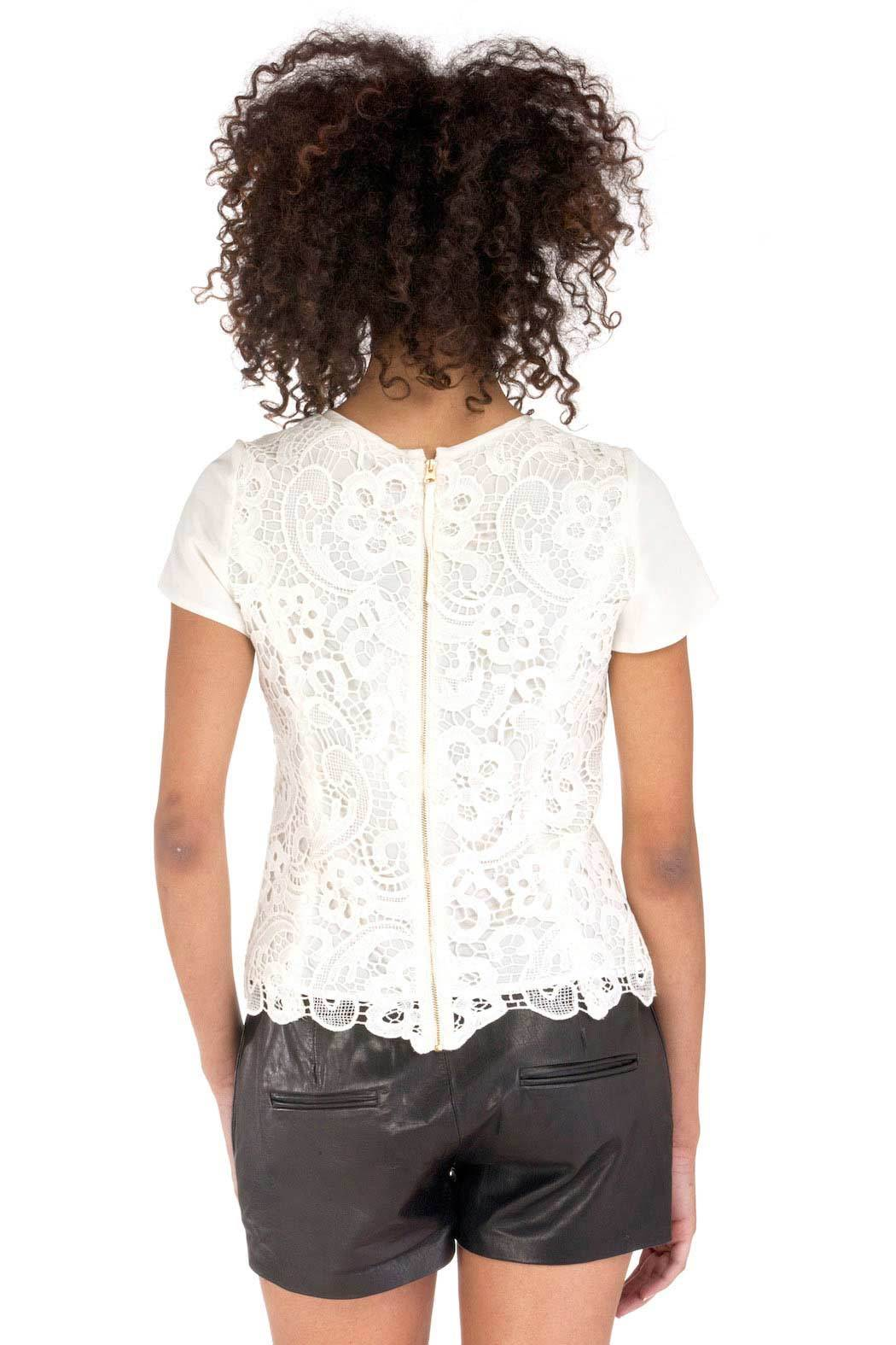 Rebecca Taylor Embroidered Lace Blouse - Back Cropped Image