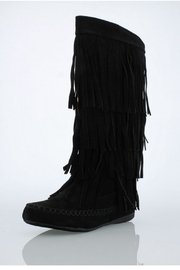 Accessories by Adriana Fringe Suede Boot - Product Mini Image