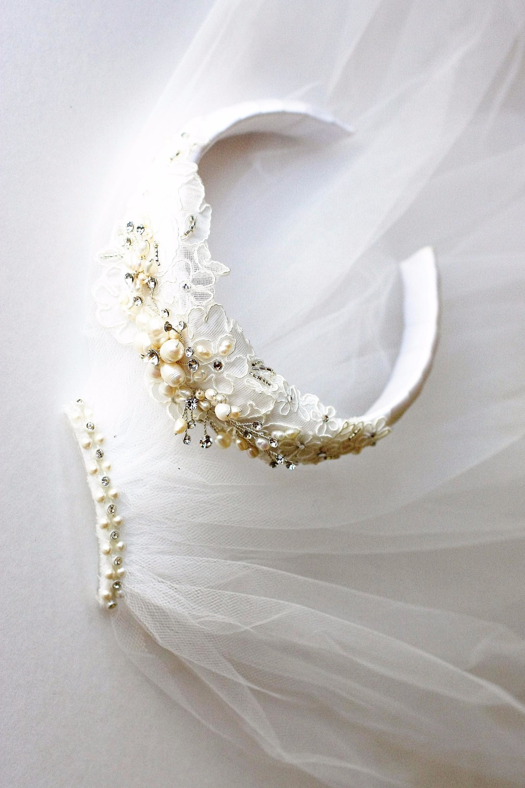 Accessories by Adriana Lace/pearl Headband Veil - Front Full Image