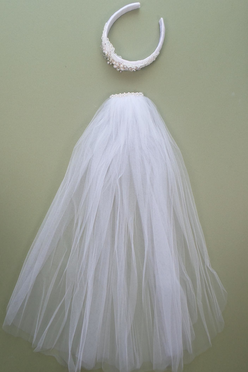 Accessories by Adriana Lace/pearl Headband Veil - Side Cropped Image