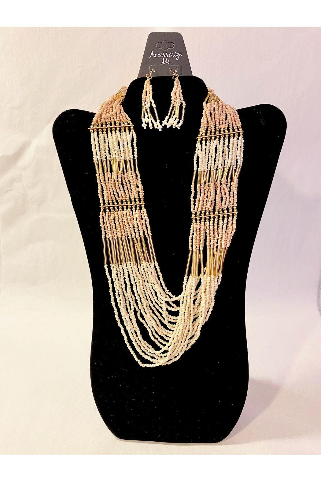 Accessories Now Ivory Beaded Necklace With Earrings - Main Image