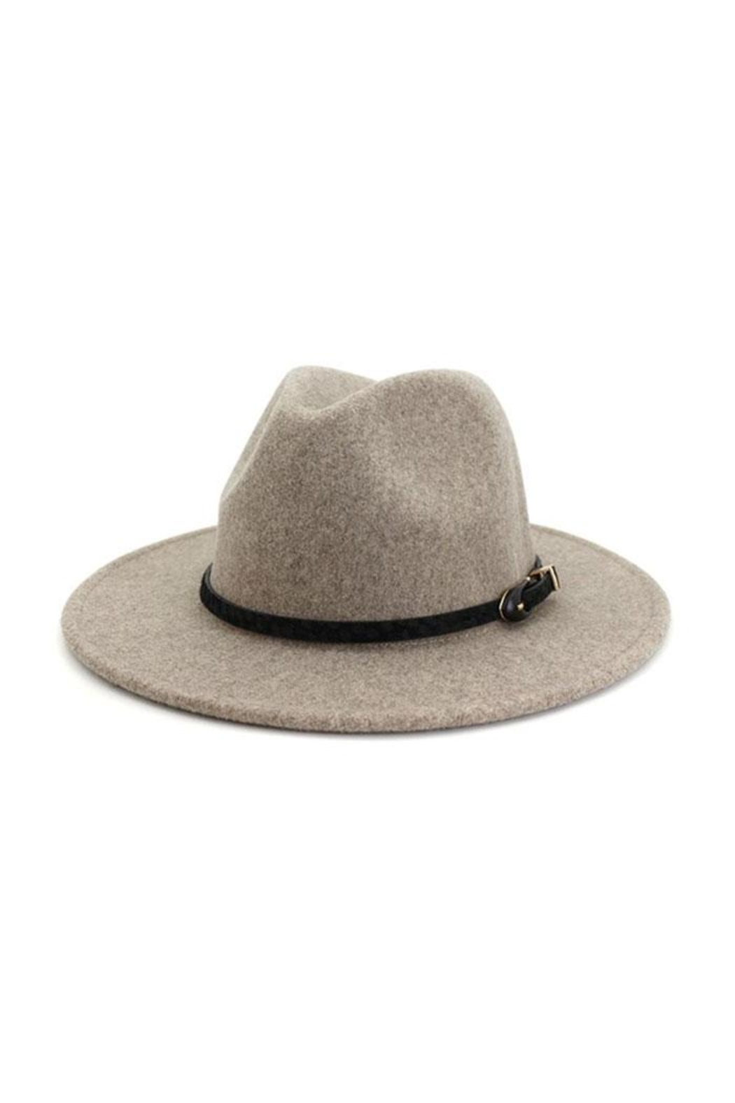 accity Black Pointed Belt Casual Panama Hat - Front Cropped Image