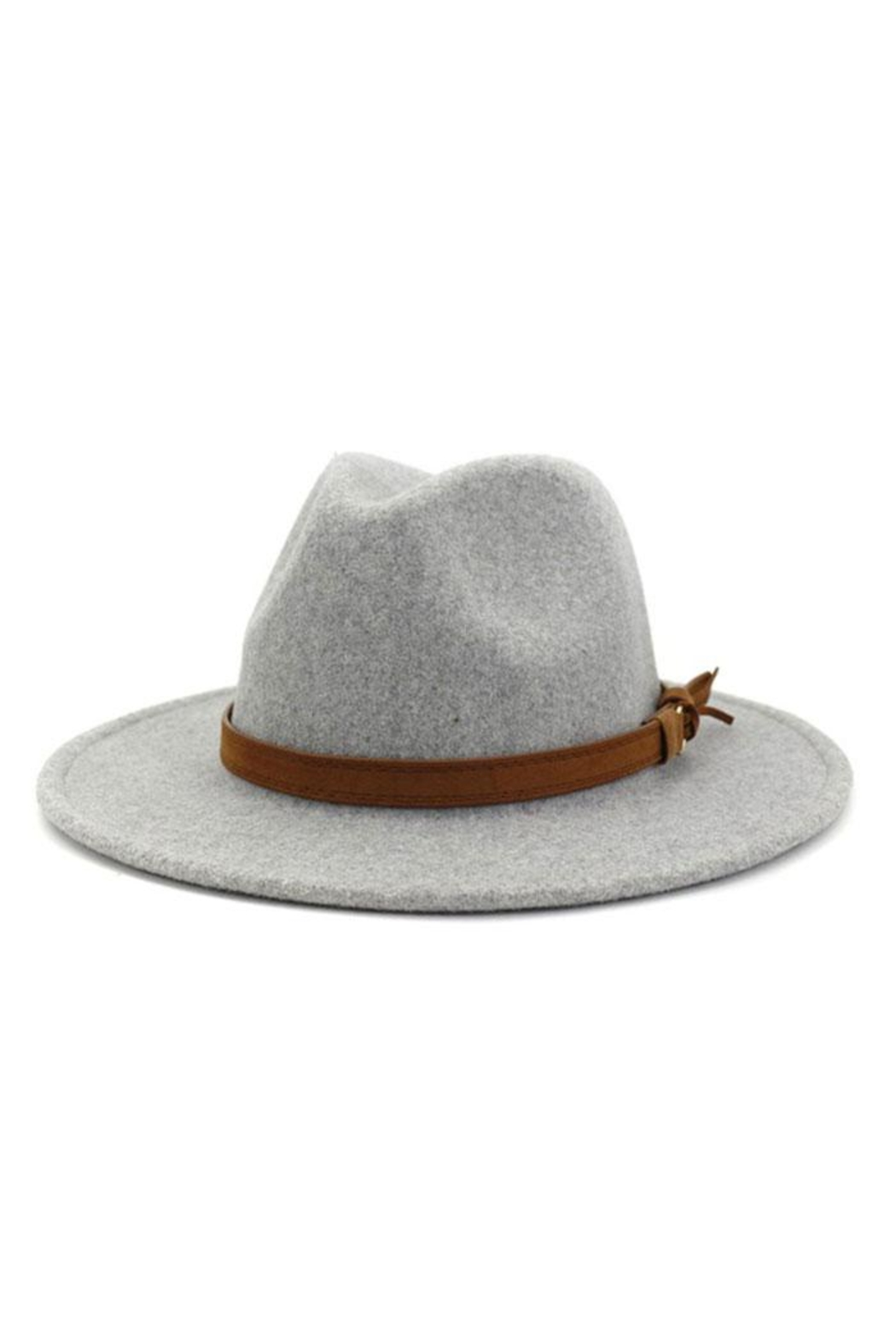accity Brown Casual Belt Trendy Panama Hat - Front Cropped Image