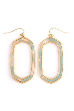 Riah Fashion Acetate-Filled-Hexagonal Frame-Drop Earring - Product List Image
