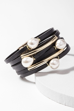 Saachi Achai Genuine Leather Bracelet with Pearls - Product List Image