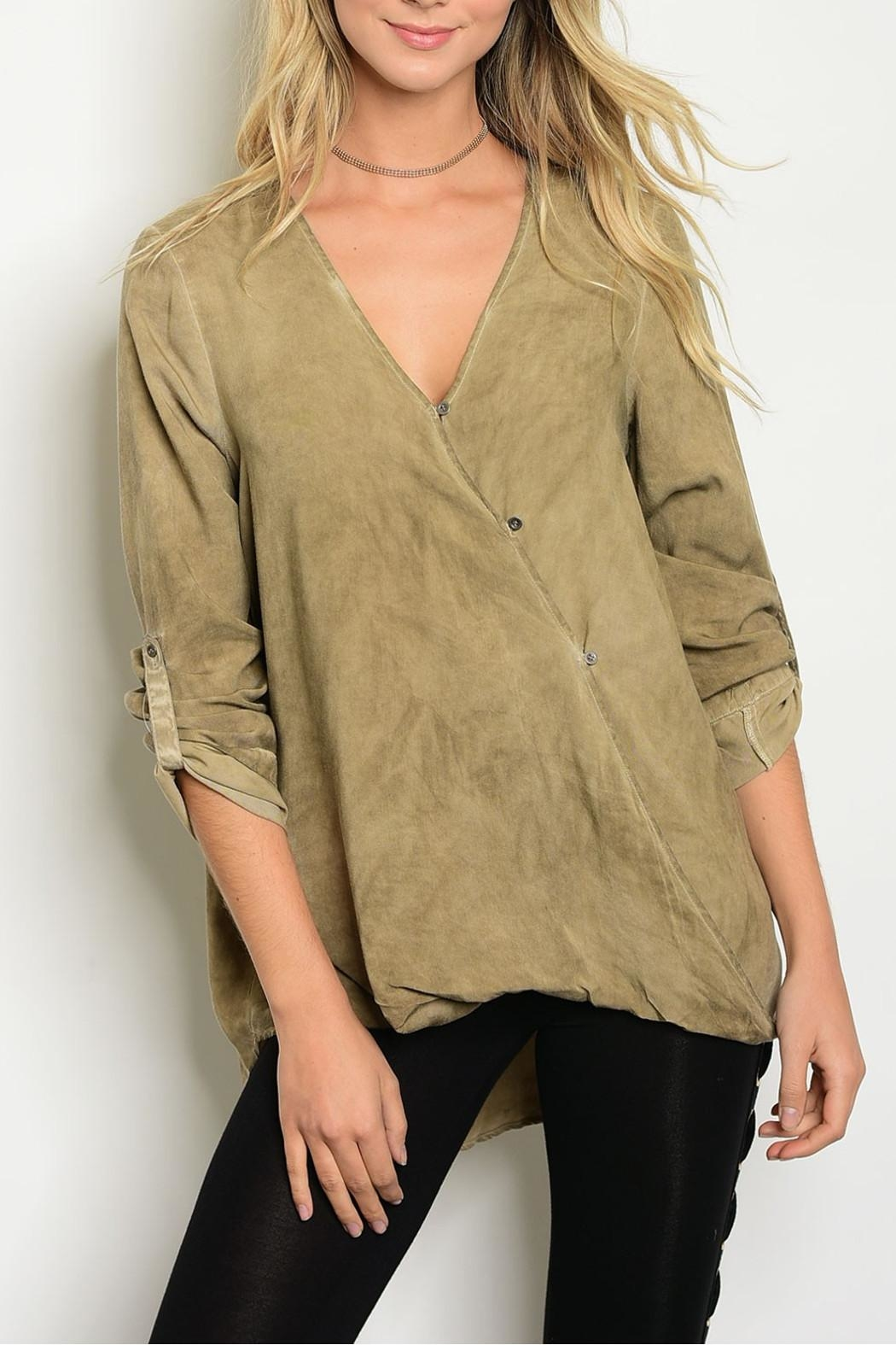 LoveRiche Acid Taupe Blouse - Front Cropped Image