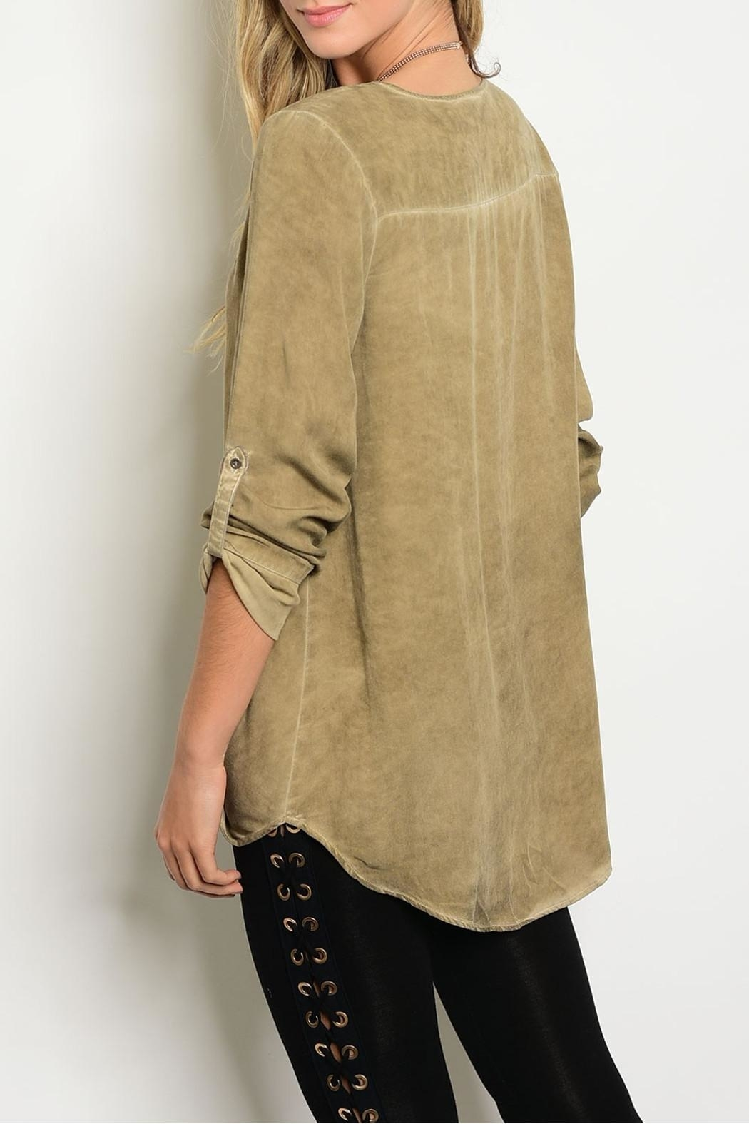 LoveRiche Acid Taupe Blouse - Front Full Image