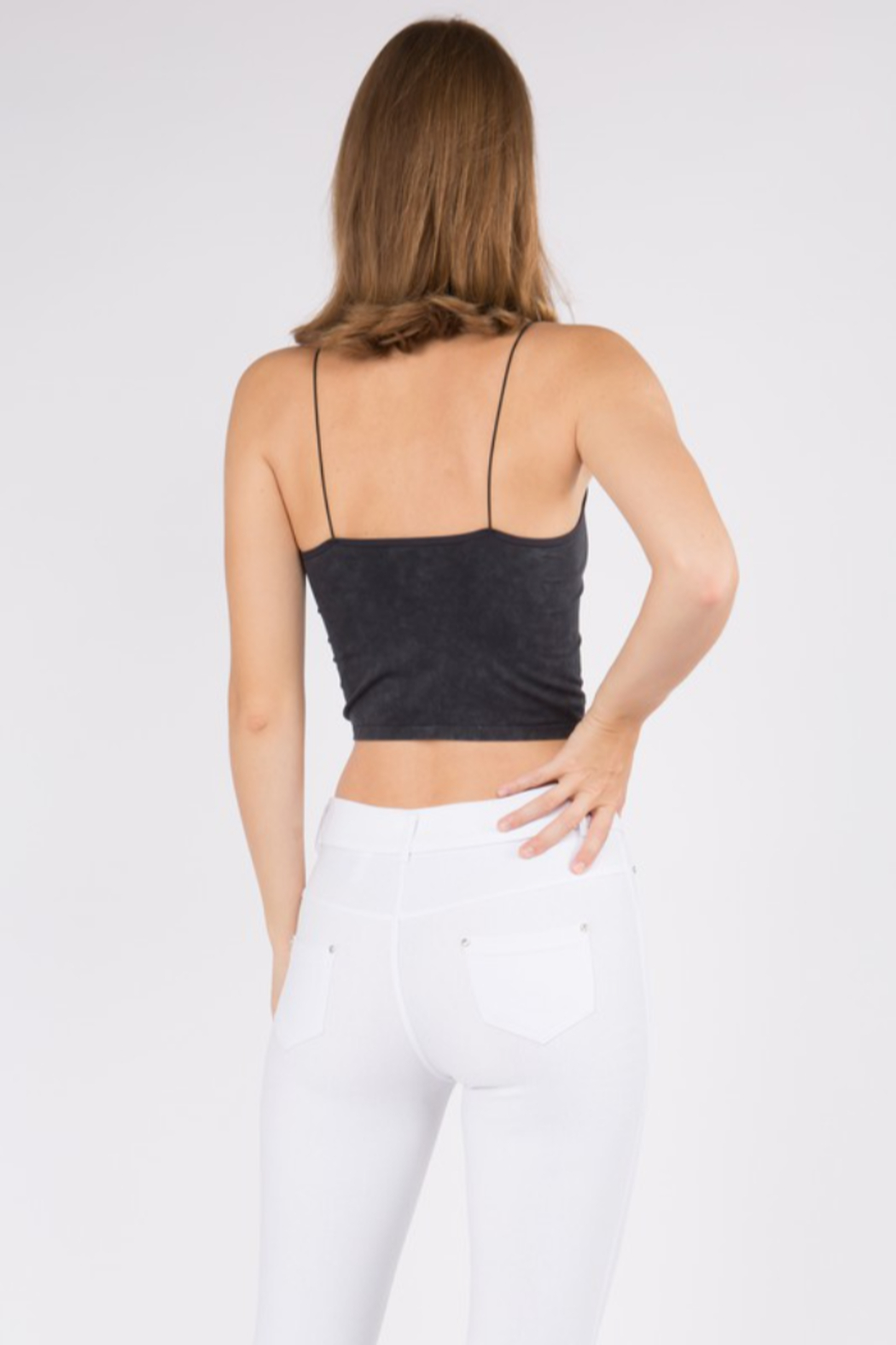 Yelete Acid Wash Basic Cropped Cami - Side Cropped Image
