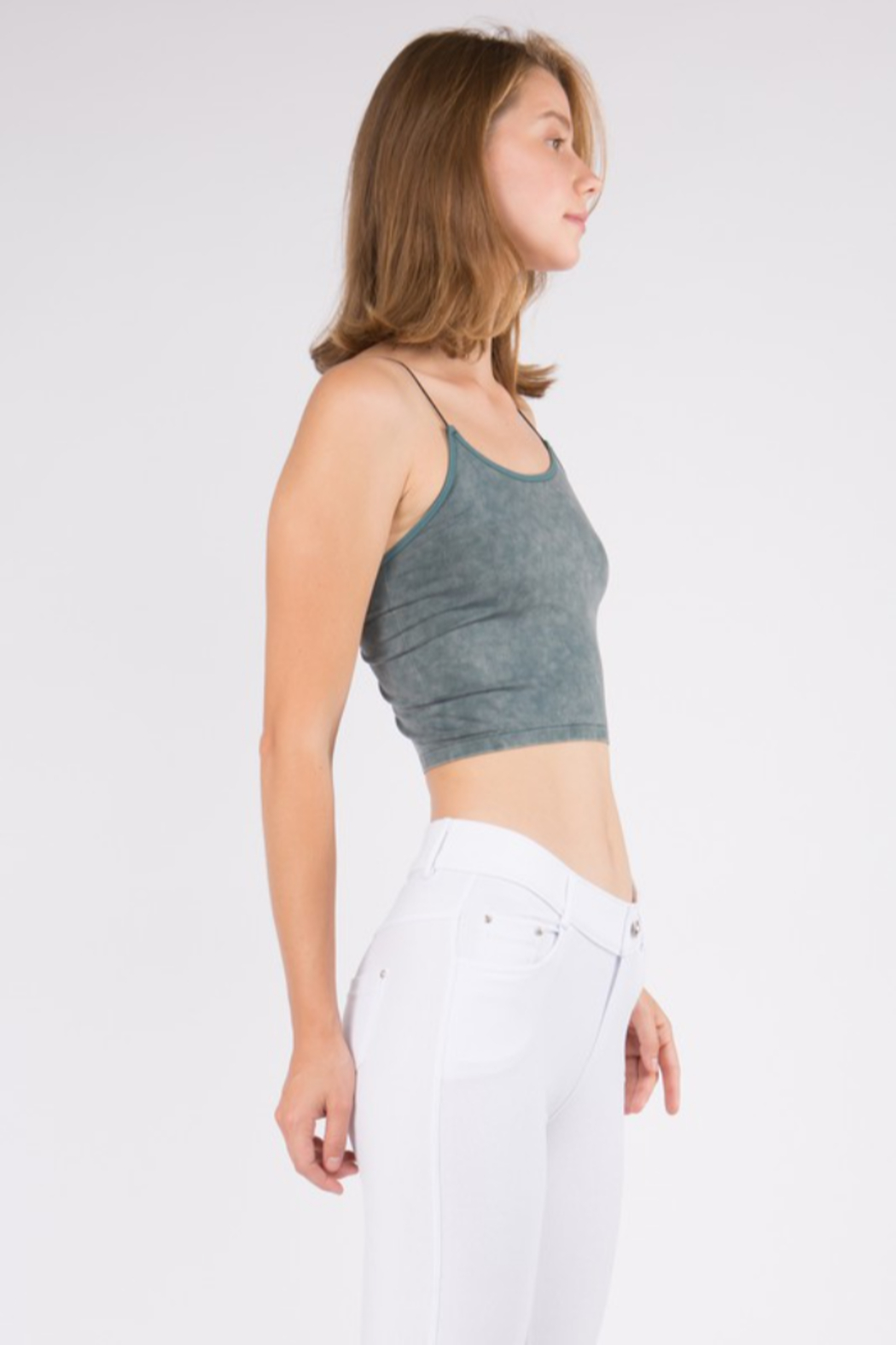 Yelete Acid Wash Basic Cropped Cami - Front Full Image