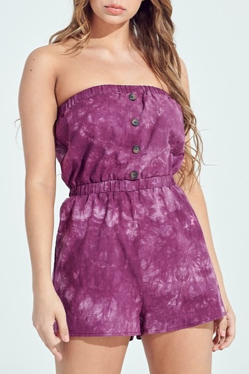 blue blush Acid Wash Romper - Main Image