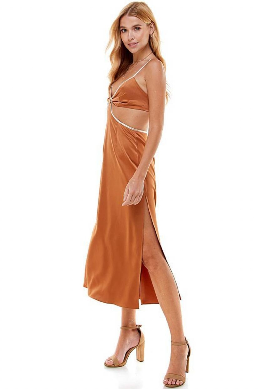 ACOA Color-Block Cut-Out Dress - Front Full Image