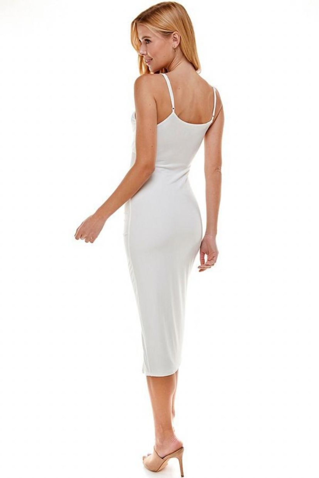 ACOA Cut-Out Ruched Dress - Front Full Image