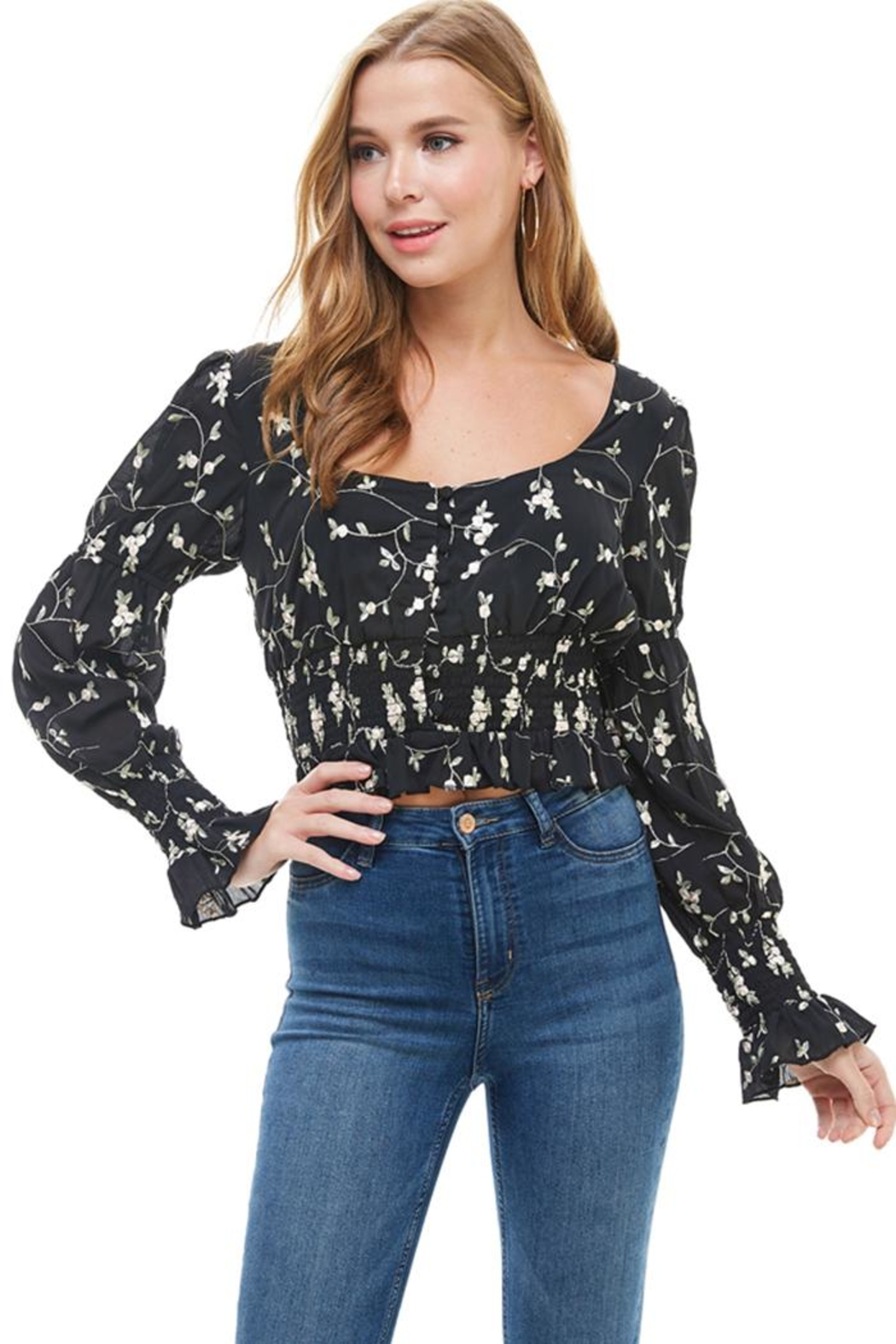 ACOA Embroidered Smocked Top - Main Image