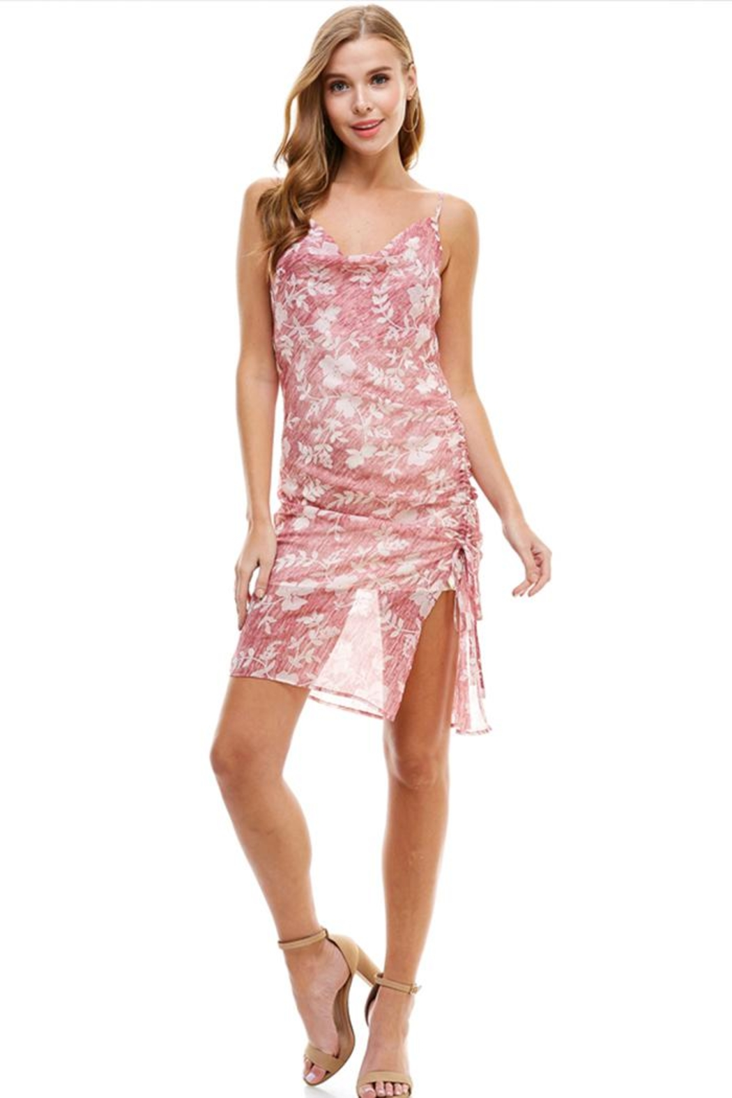 ACOA Floral Ruched Dress - Main Image