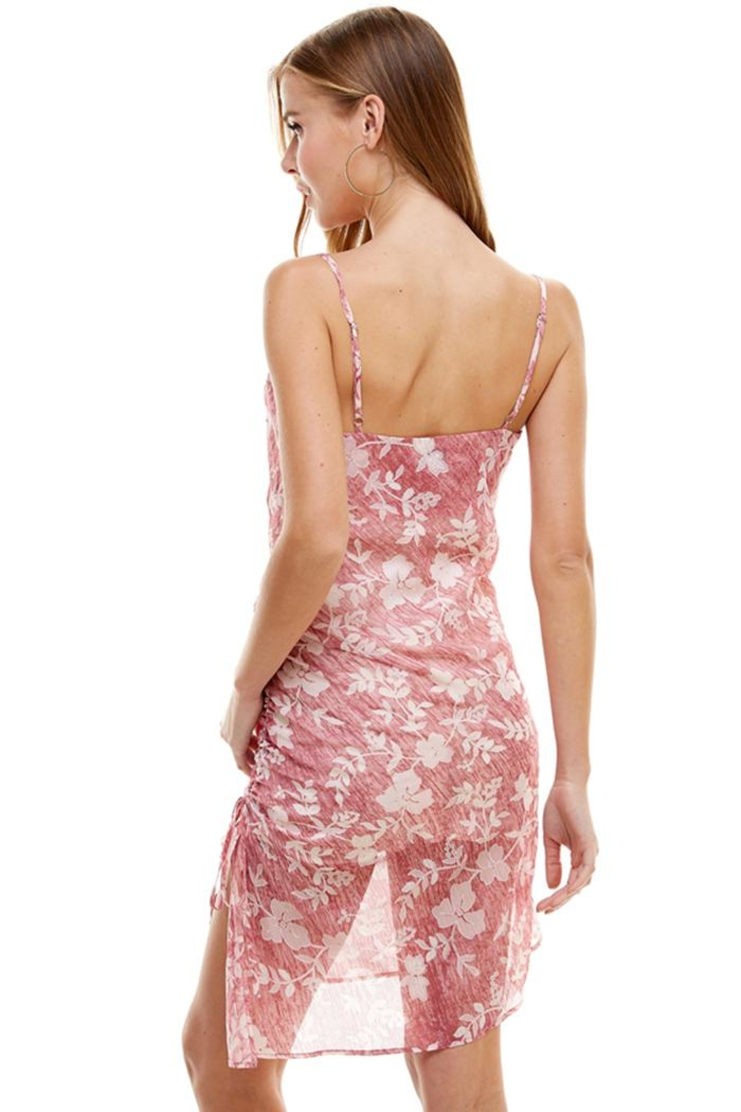 ACOA Floral Ruched Dress - Side Cropped Image