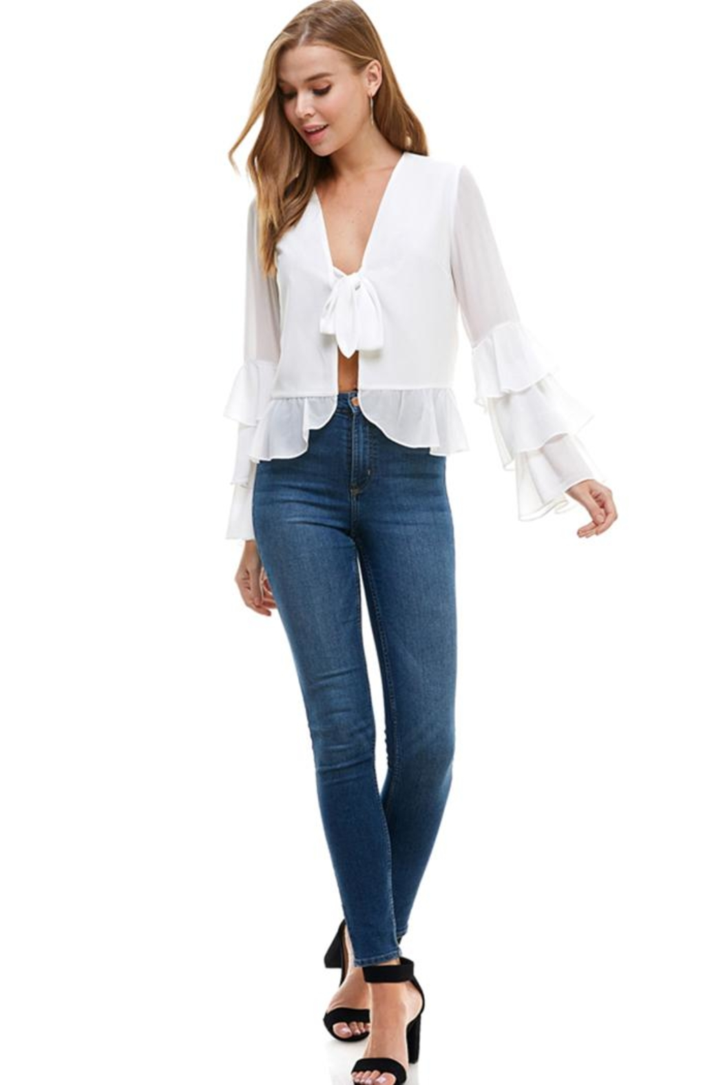 ACOA Open Tie Blouse - Front Cropped Image