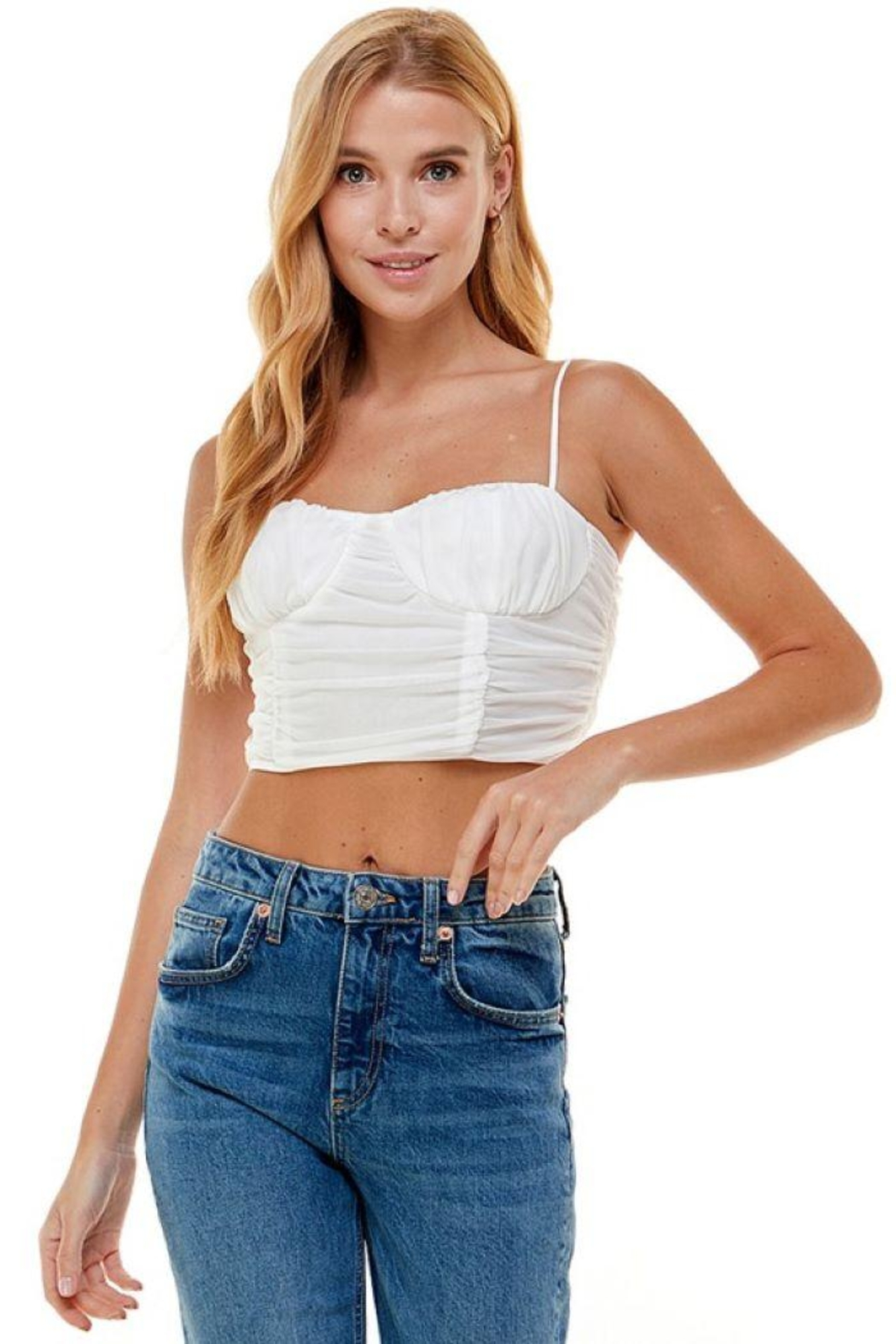 ACOA Ruched Detail Mesh Cami - Front Cropped Image