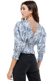ACOA Smocked Cuffed-Sleeve Blouse - Back cropped