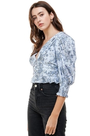 ACOA Smocked Cuffed-Sleeve Blouse - Side cropped
