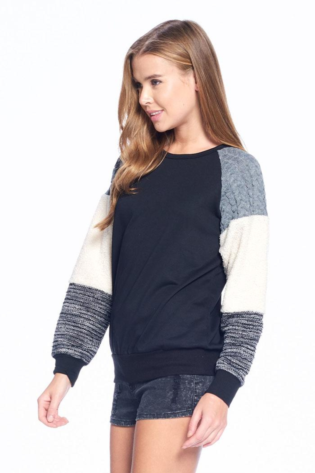 ACOA Soft Colorblock Sweater - Front Full Image