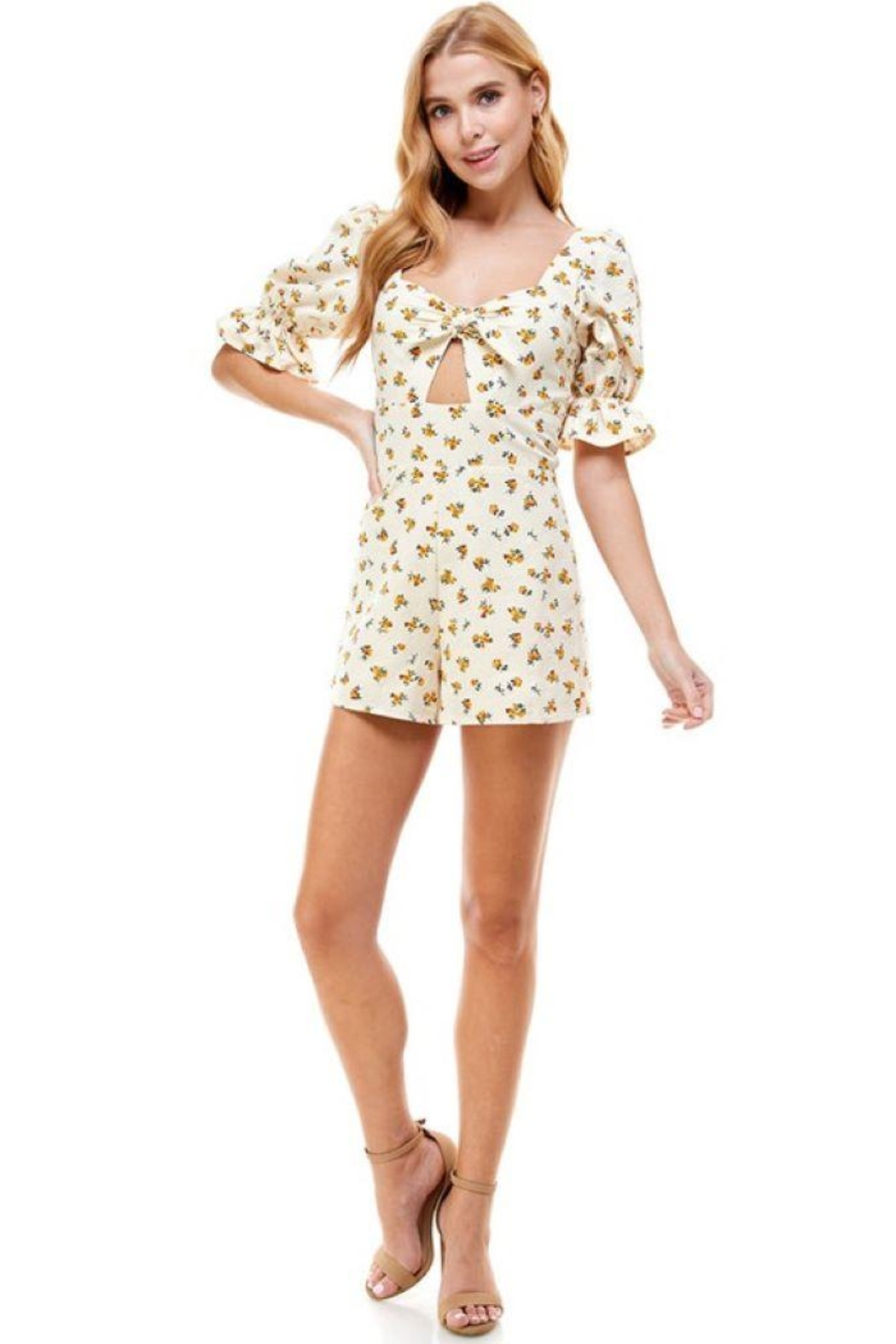 ACOA Tie Front Cutout Floral Romper - Side Cropped Image