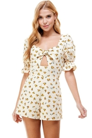 ACOA Tie Front Cutout Floral Romper - Product Mini Image
