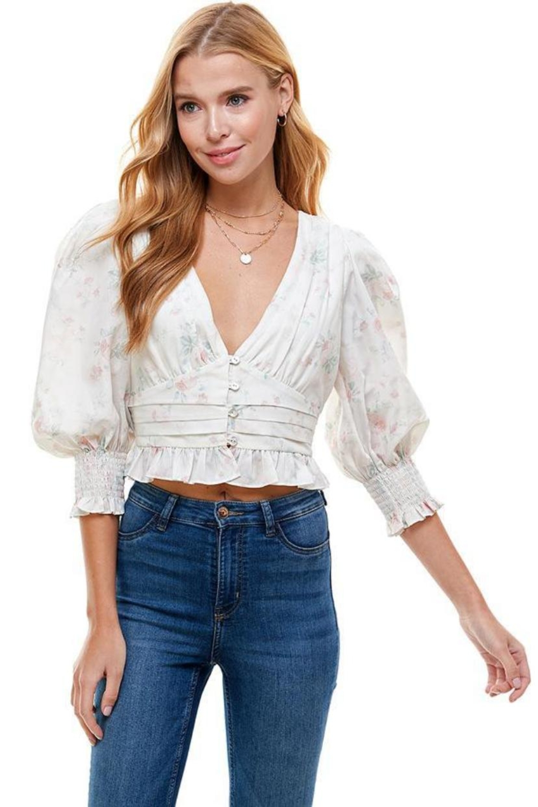 ACOA V-Neck Floral Top - Main Image