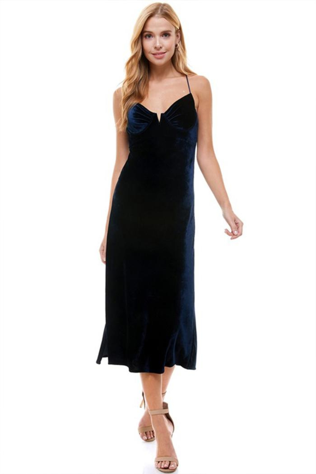 ACOA Velvet Midi Dress - Front Cropped Image