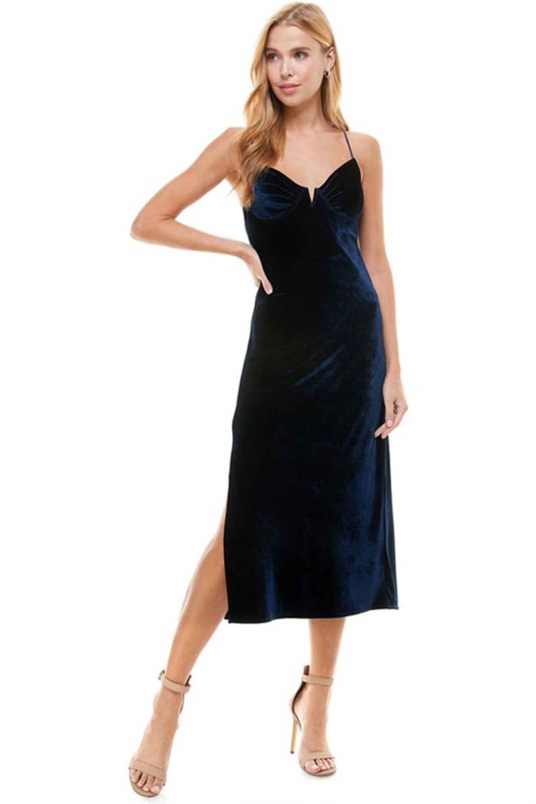 ACOA Velvet Midi Dress - Front Full Image