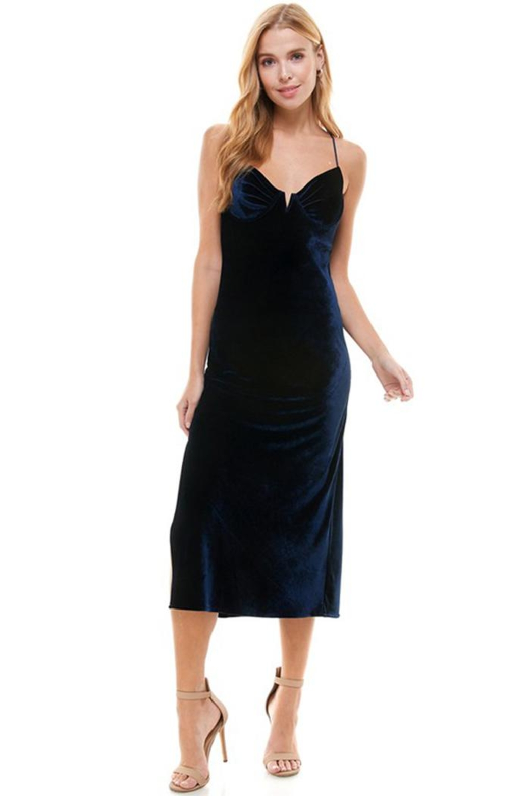 ACOA Velvet Midi Dress - Side Cropped Image