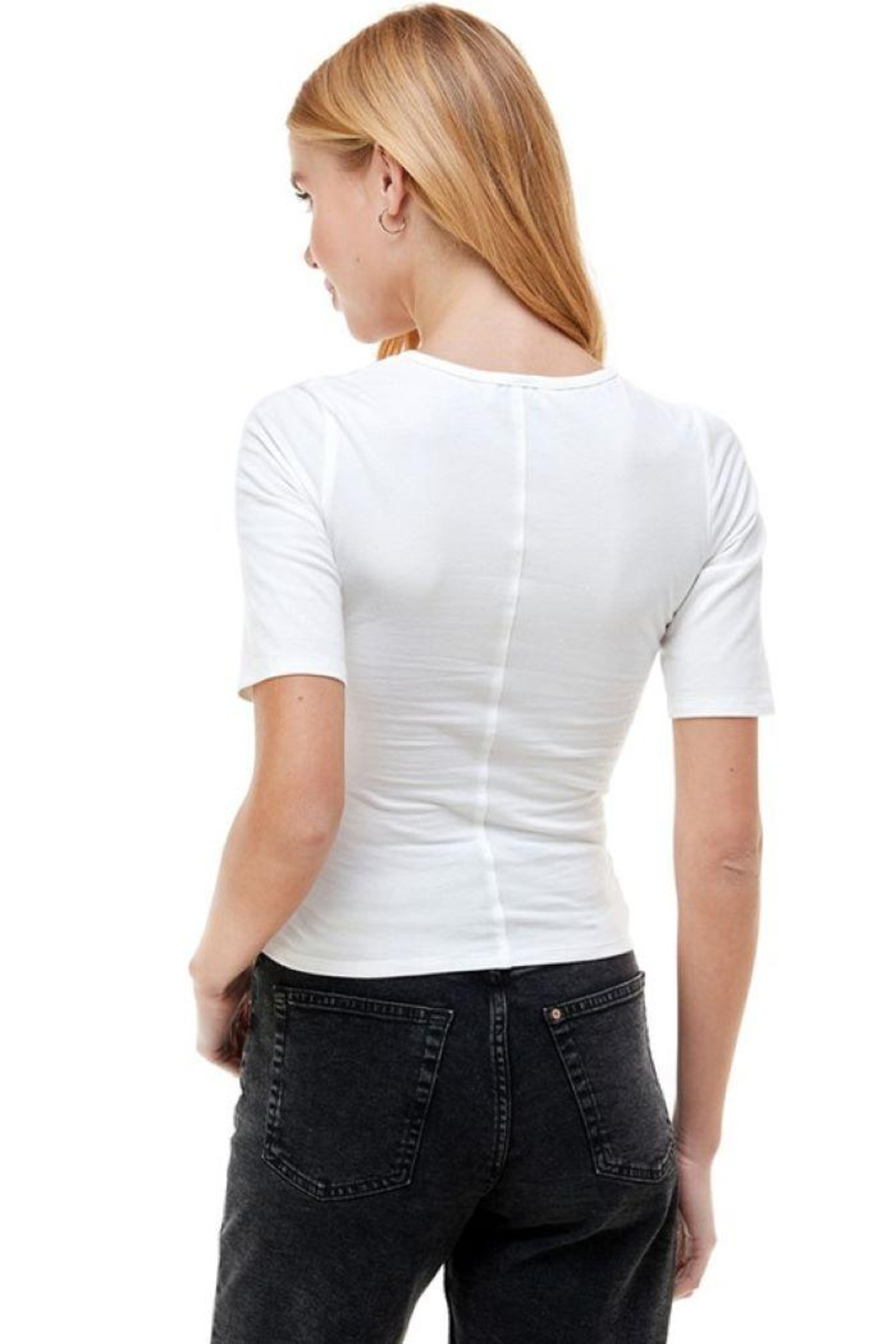 ACOA Wrap Front Detail Knit Short Sleeve Top - Front Full Image
