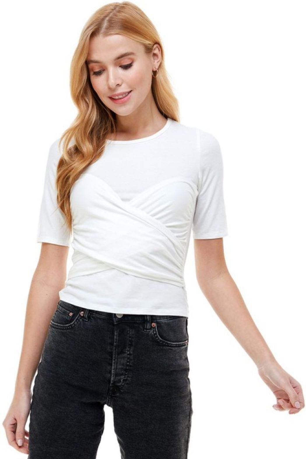 ACOA Wrap Front Detail Knit Short Sleeve Top - Side Cropped Image
