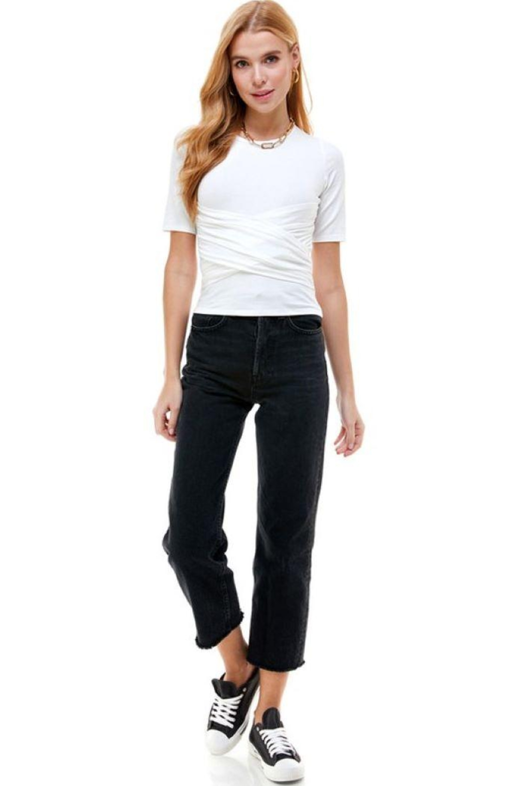 ACOA Wrap Front Detail Knit Short Sleeve Top - Front Cropped Image