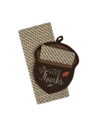 DII Design Imports Acorn Potholder-Towel Set - Product Mini Image