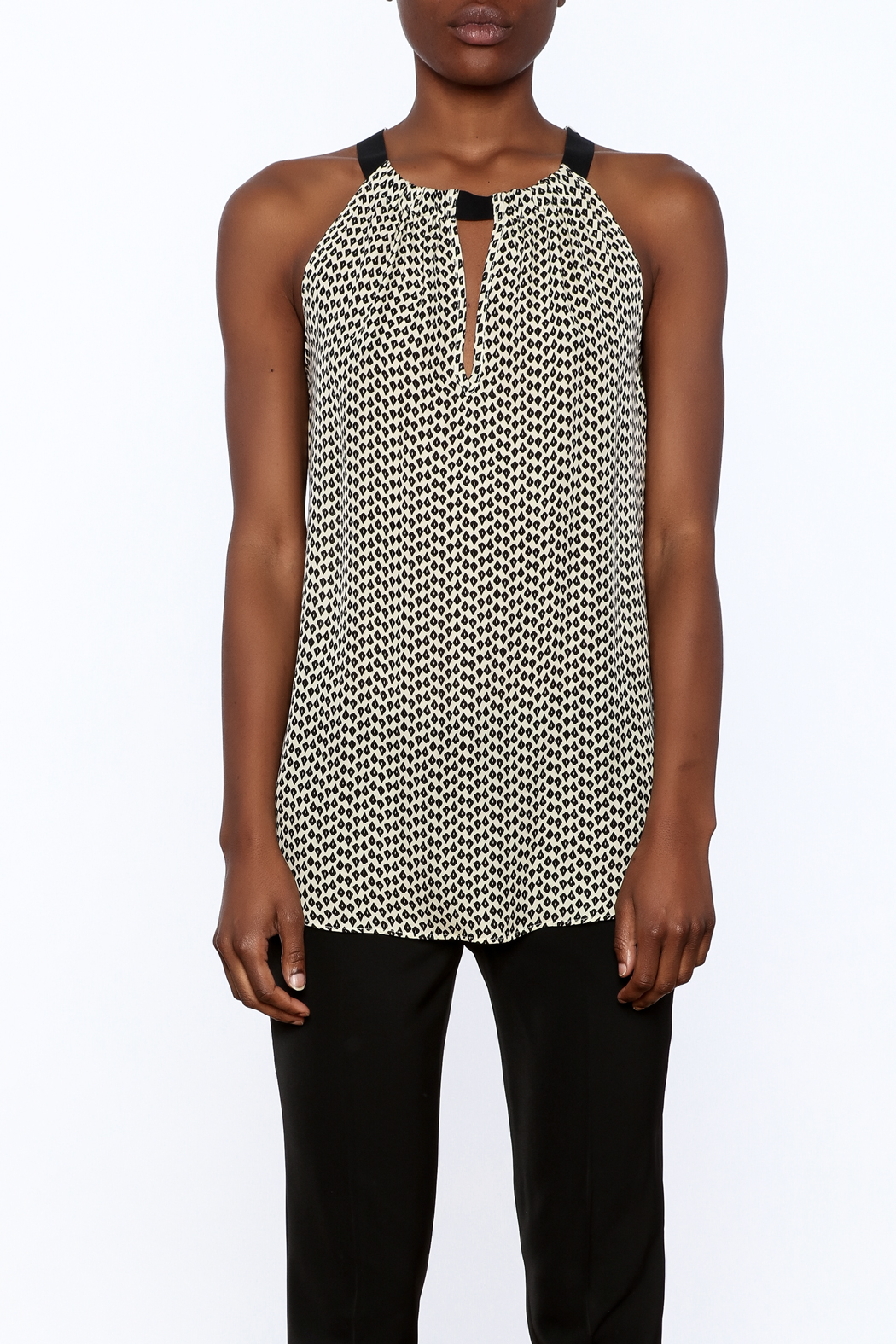 Acrobat Printed Sleeveless Long Top - Side Cropped Image