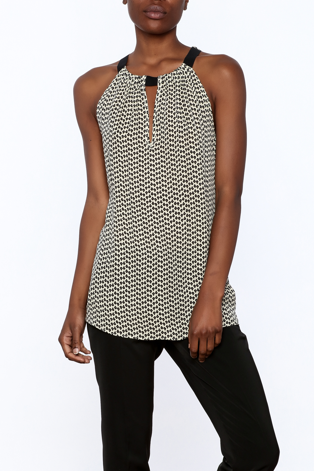 Acrobat Printed Sleeveless Long Top - Main Image