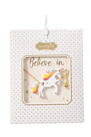 Mud Pie Acrylic Unicorn Necklace - Front cropped