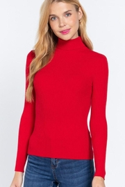 Active Long Sleeve Turtle Neck Rib Sweater Top - Product Mini Image